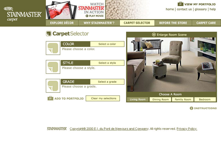 DuPont Stainmaster Website Carpet Selector