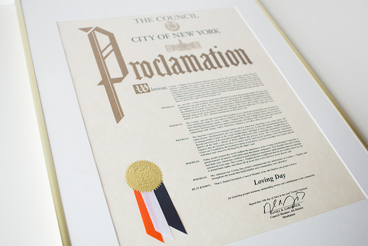Loving Day officially recognized with a New York City Council resolution