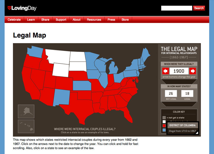 Loving Day Website Legal Map