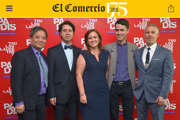 Ken Tanabe featured in El Comercio in Lima Peru as PADIS design awards juror and seminar speaker