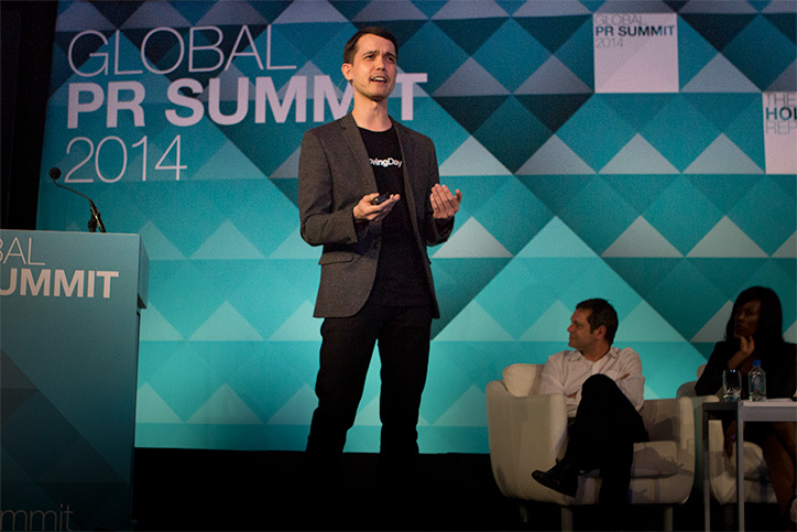 Loving Day founder Ken Tanabe speaking at the Global PR Summit