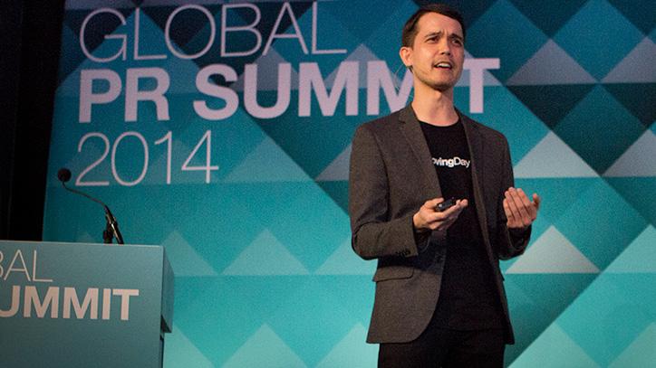 Loving Day founder Ken Tanabe speaking at the Global PR Summit